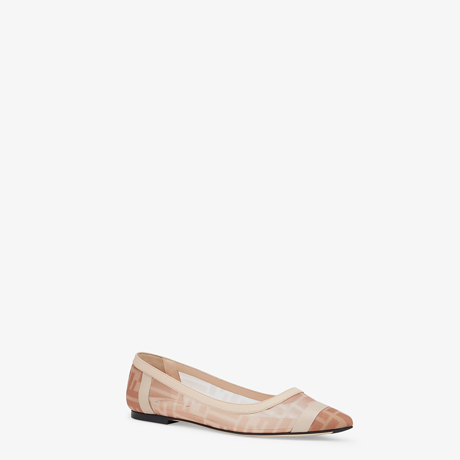 FENDI BALLERINAS - Colibrì in pink mesh and nude leather - view 2 detail