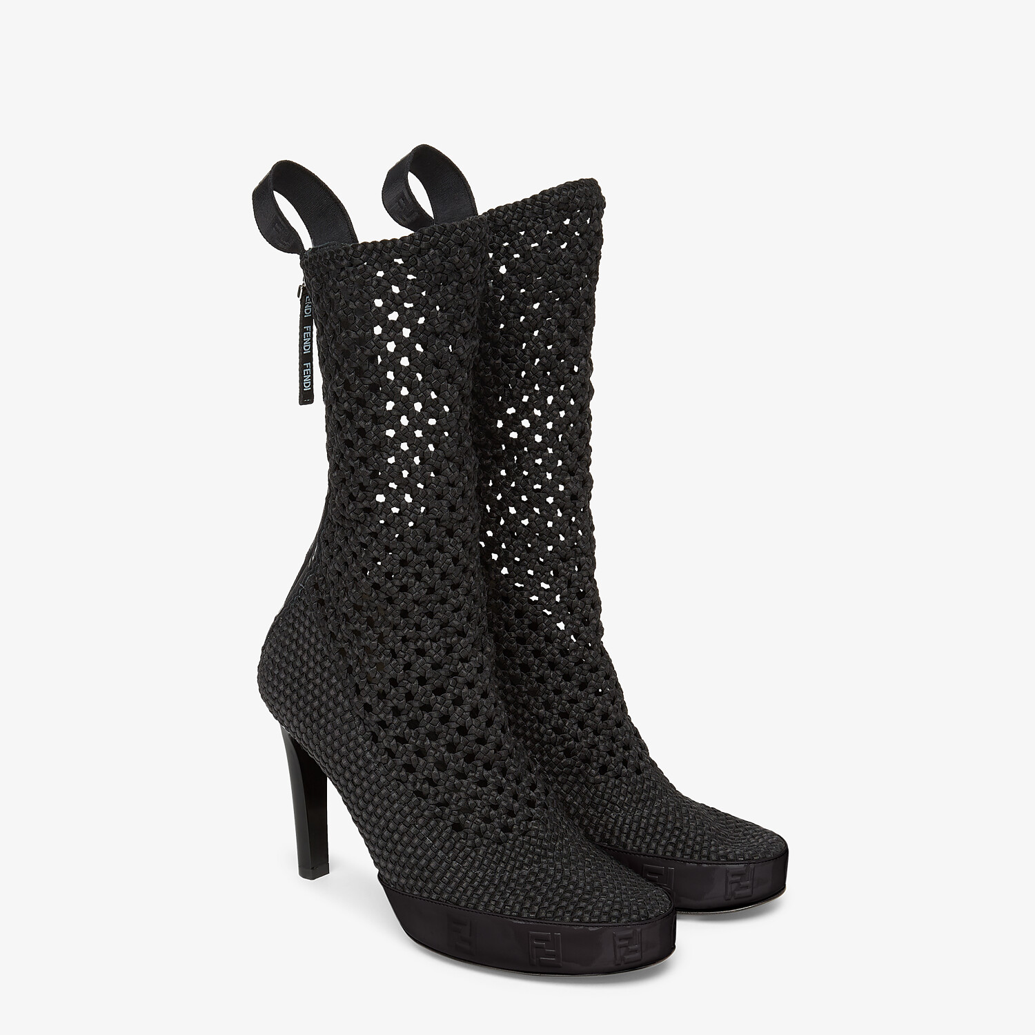 FENDI FENDI REFLECTIONS ANKLE BOOTS - Black elasticated lace booties - view 4 detail