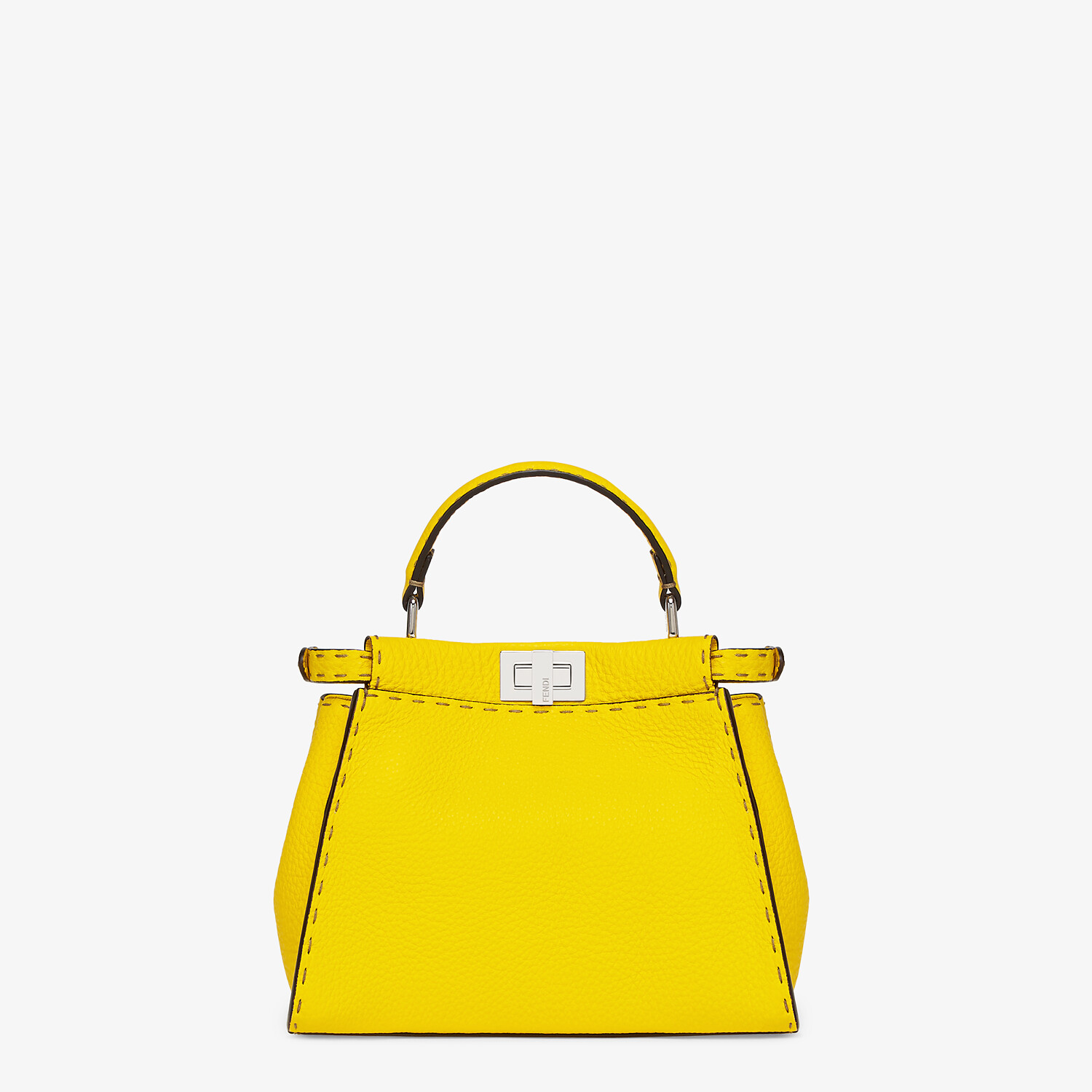 FENDI PEEKABOO ICONIC MINI - Yellow Cuoio Romano leather bag - view 3 detail