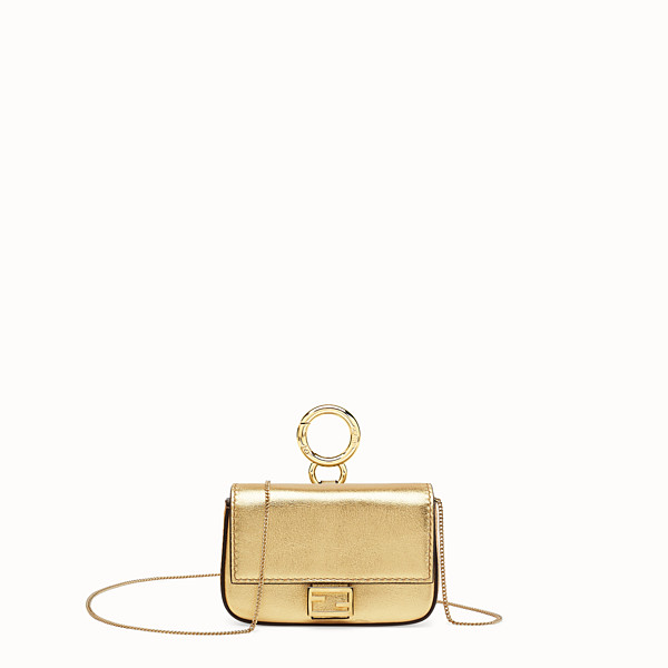 FENDI NANO BAGUETTE - Charm in golden leather - view 1 small thumbnail