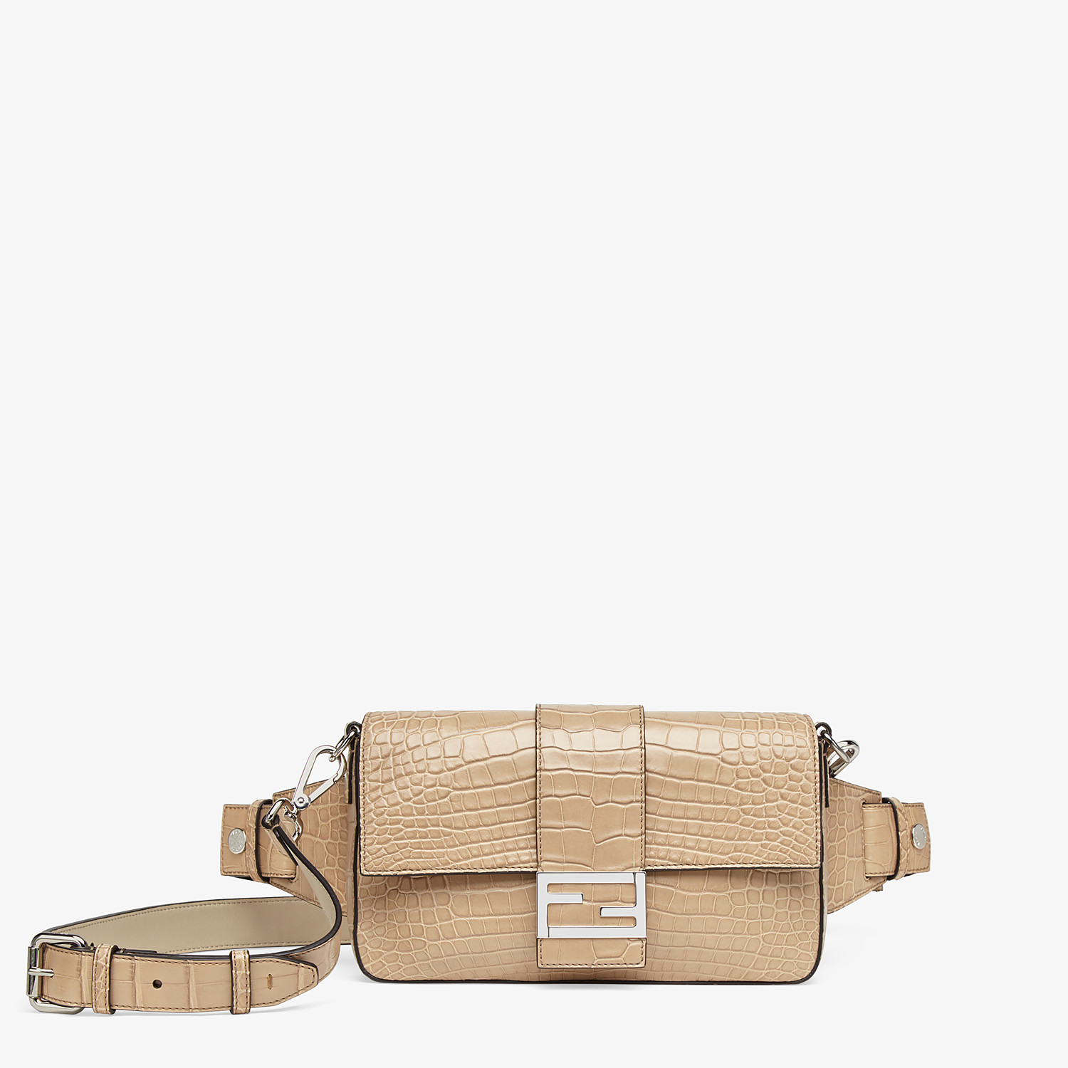 FENDI BAGUETTE - Beige alligator bag - view 1 detail