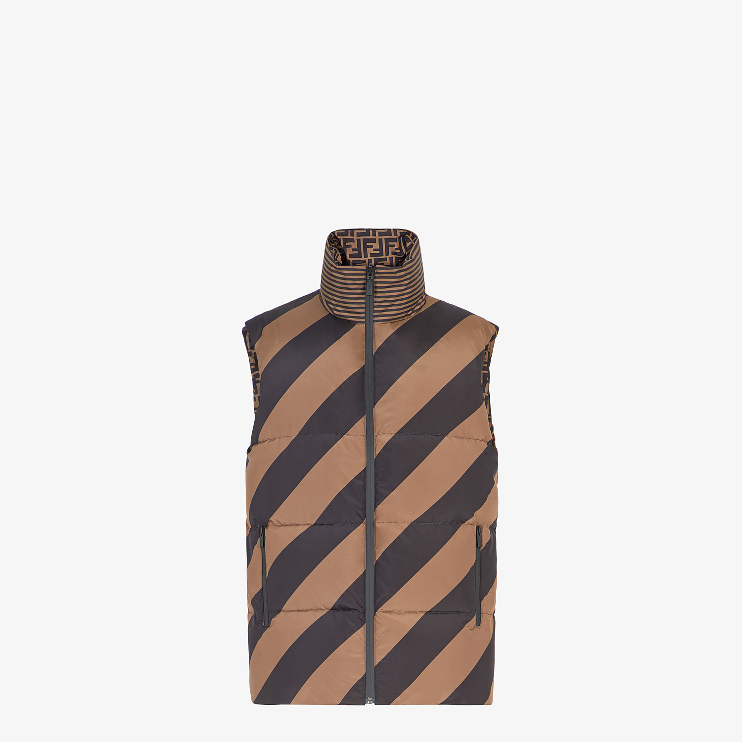 FENDI GILET - Brown nylon gilet - view 4 detail