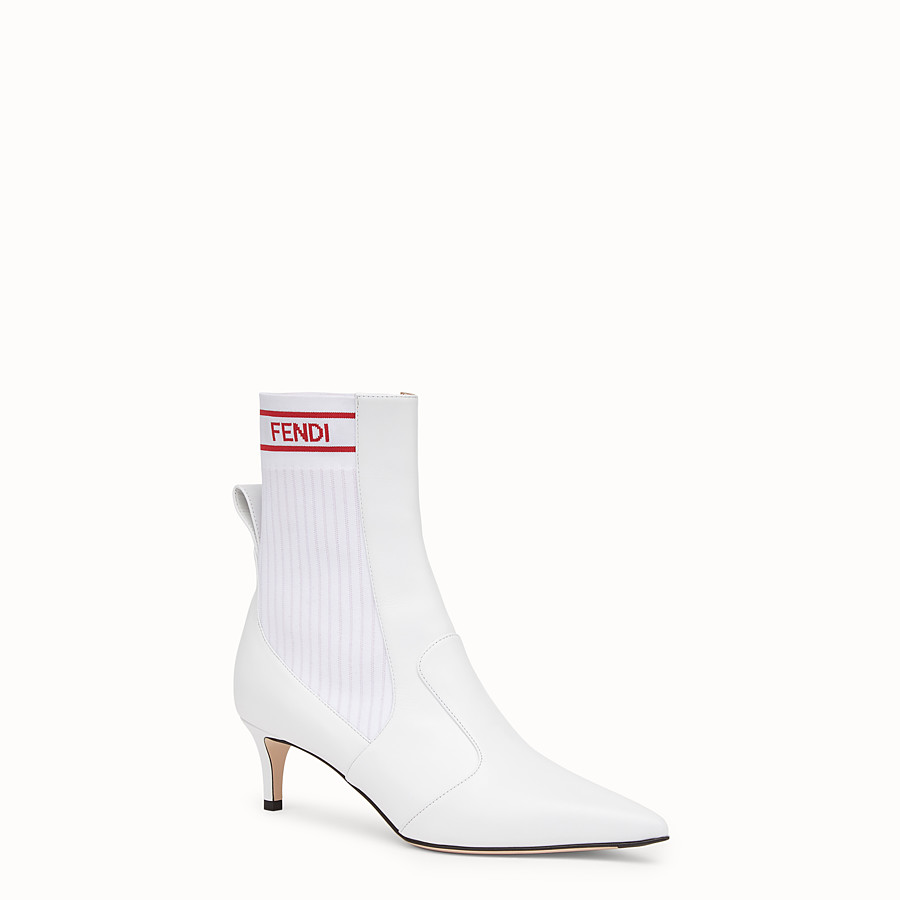 FENDI ANKLE BOOTS - White leather booties - view 2 detail