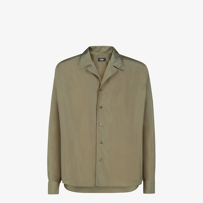 FENDI SHIRT - Green silk shirt - view 1 detail