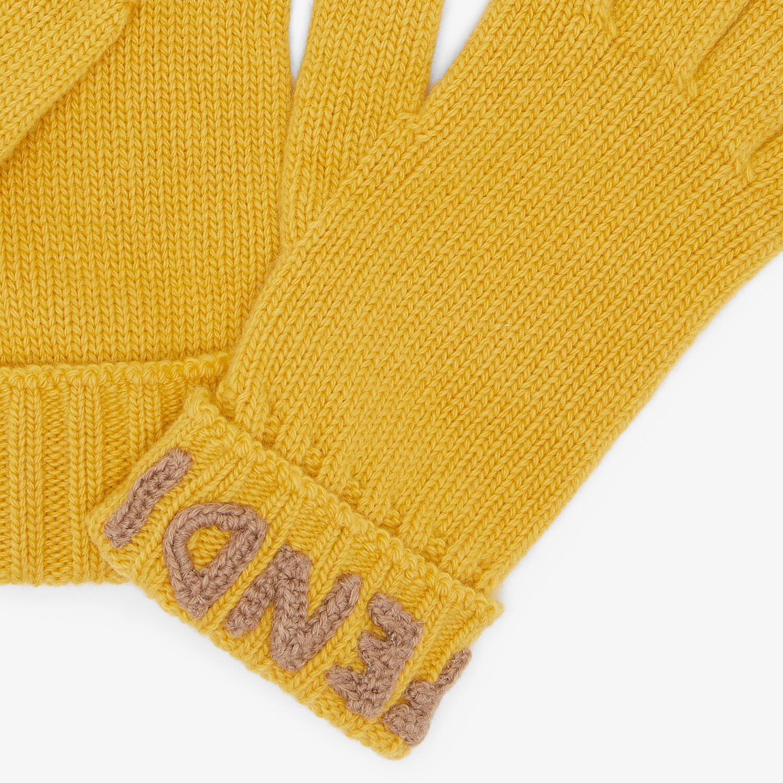 FENDI GLOVES - Yellow wool gloves - view 2 detail