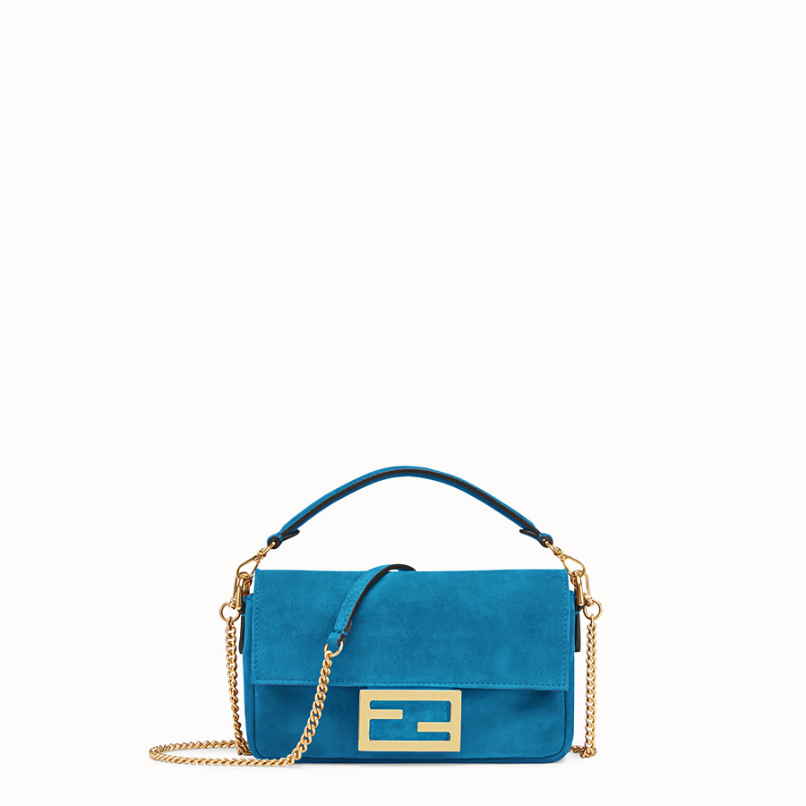 FENDI MINI BAGUETTE - Blue suede bag - view 1 detail