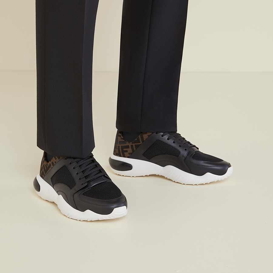 FENDI SNEAKERS - Black tech mesh and leather low-tops - view 5 detail