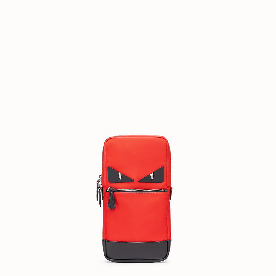 FENDI BELT BAG - Red fabric and leather one-shoulder backpack - view 1 detail