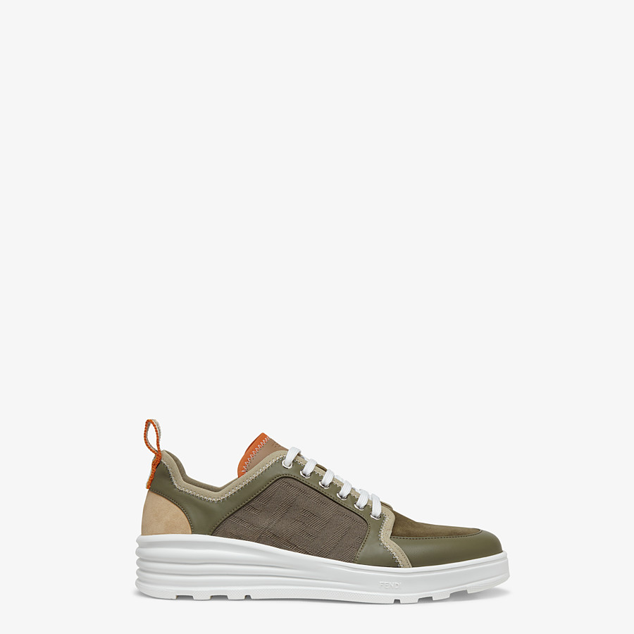 FENDI SNEAKERS - Multicolour leather and suede low-tops - view 1 detail