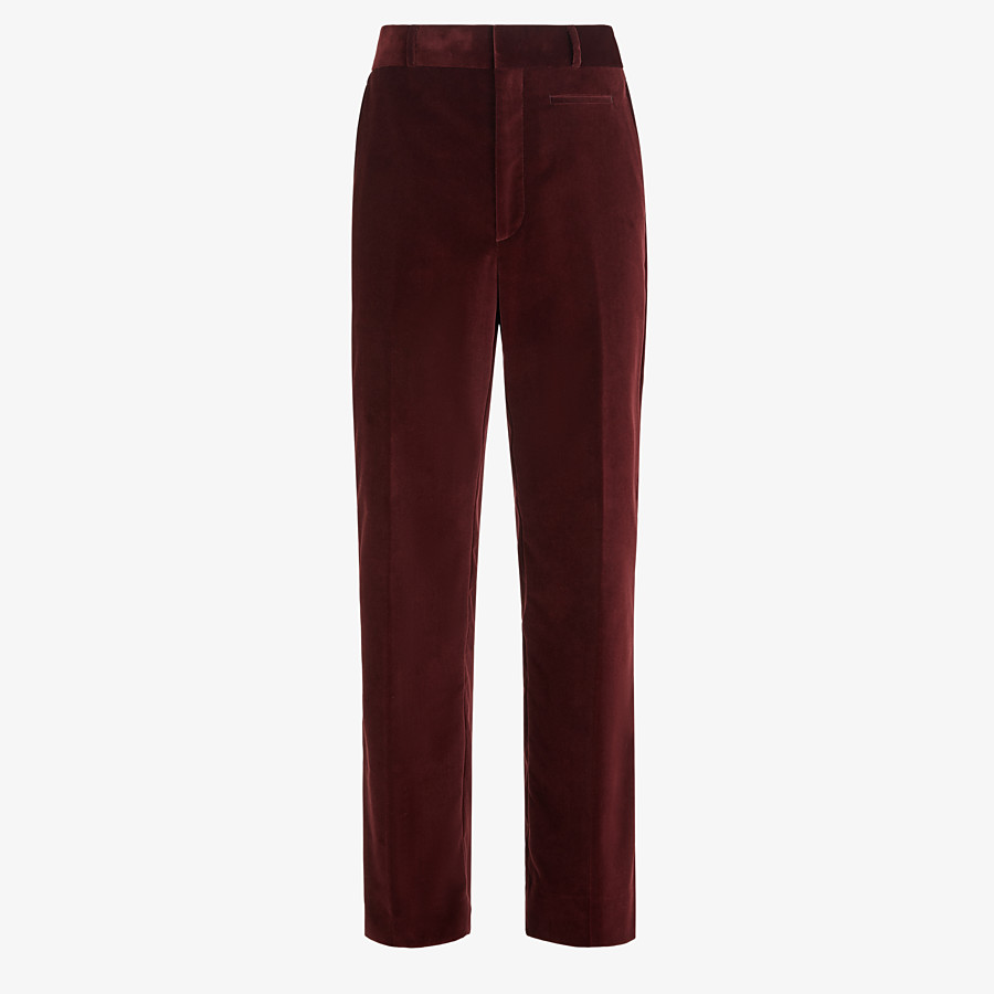 FENDI TROUSERS - Burgundy velvet trousers - view 1 detail