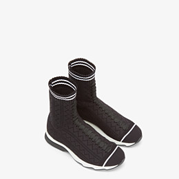 FENDI SNEAKERS - Sneakers in black and white fabric - view 4 thumbnail