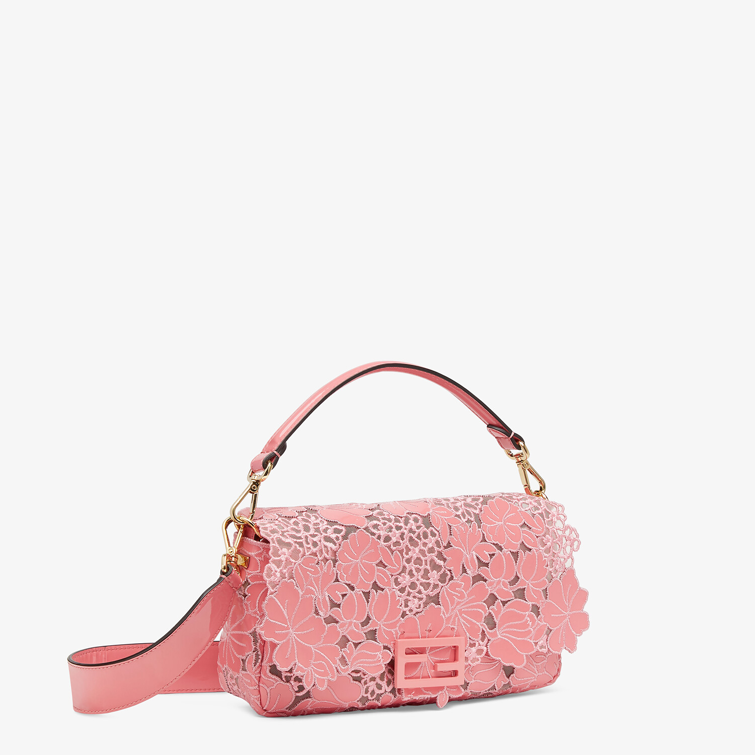 FENDI BAGUETTE - Embroidered pink patent leather bag - view 2 detail