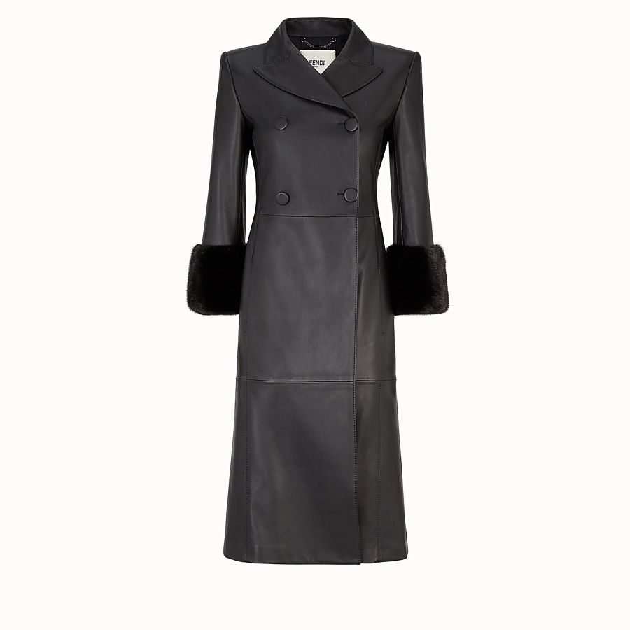 FENDI OVERCOAT - Black leather coat - view 1 detail
