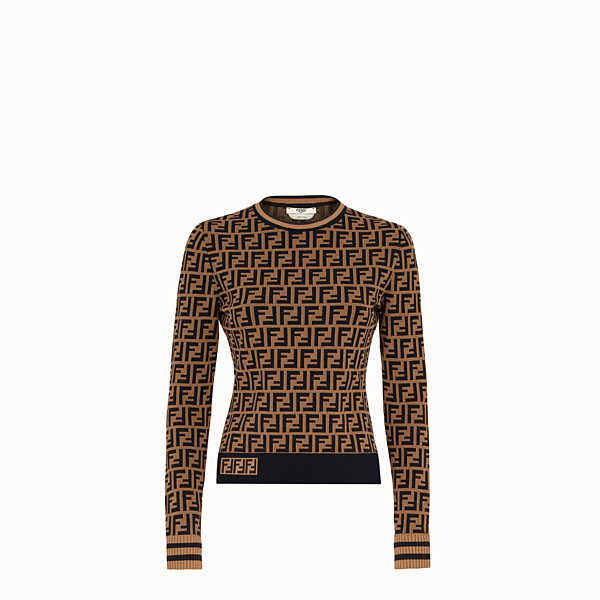 FENDI SWEATER - Brown fabric sweater - view 1 small thumbnail