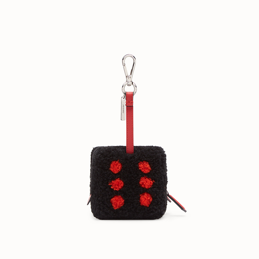 FENDI COIN PURSE - Black sheepskin charm - view 2 detail
