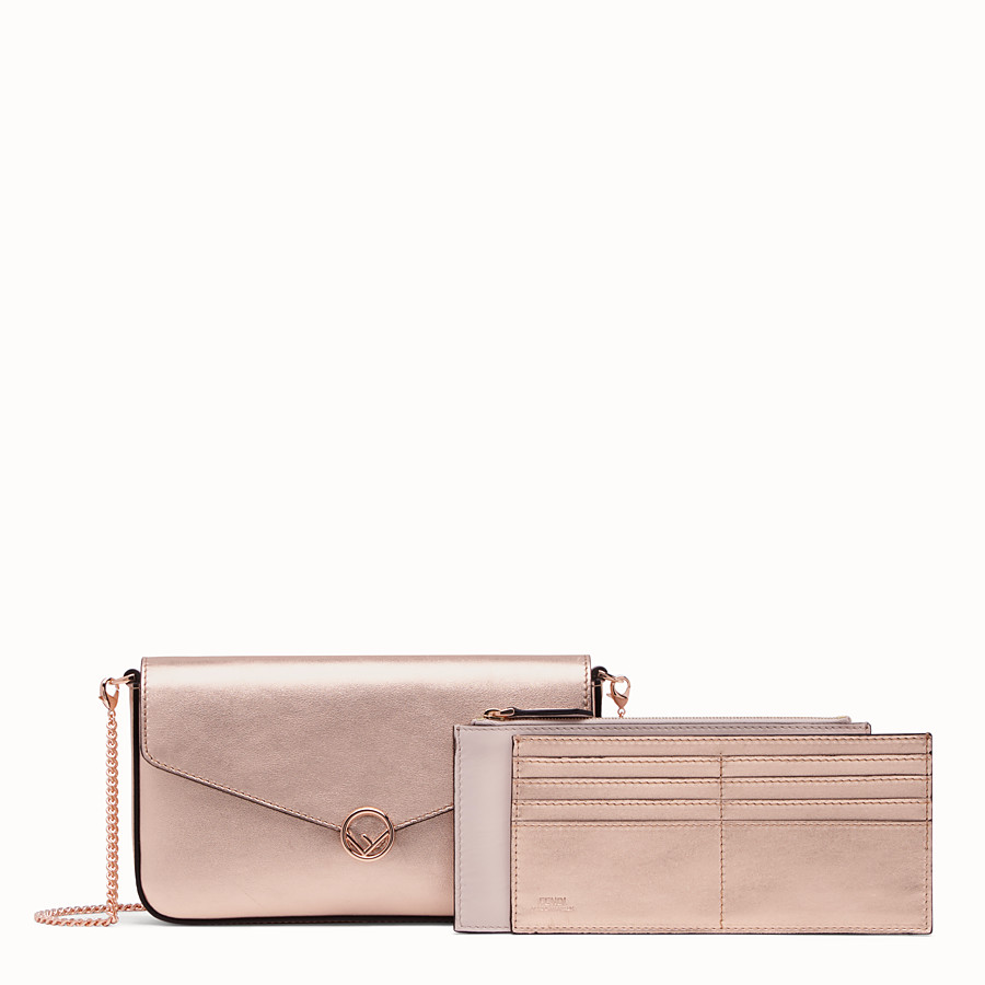 FENDI WALLET ON CHAIN WITH POUCHES - Pink leather mini-bag - view 2 detail