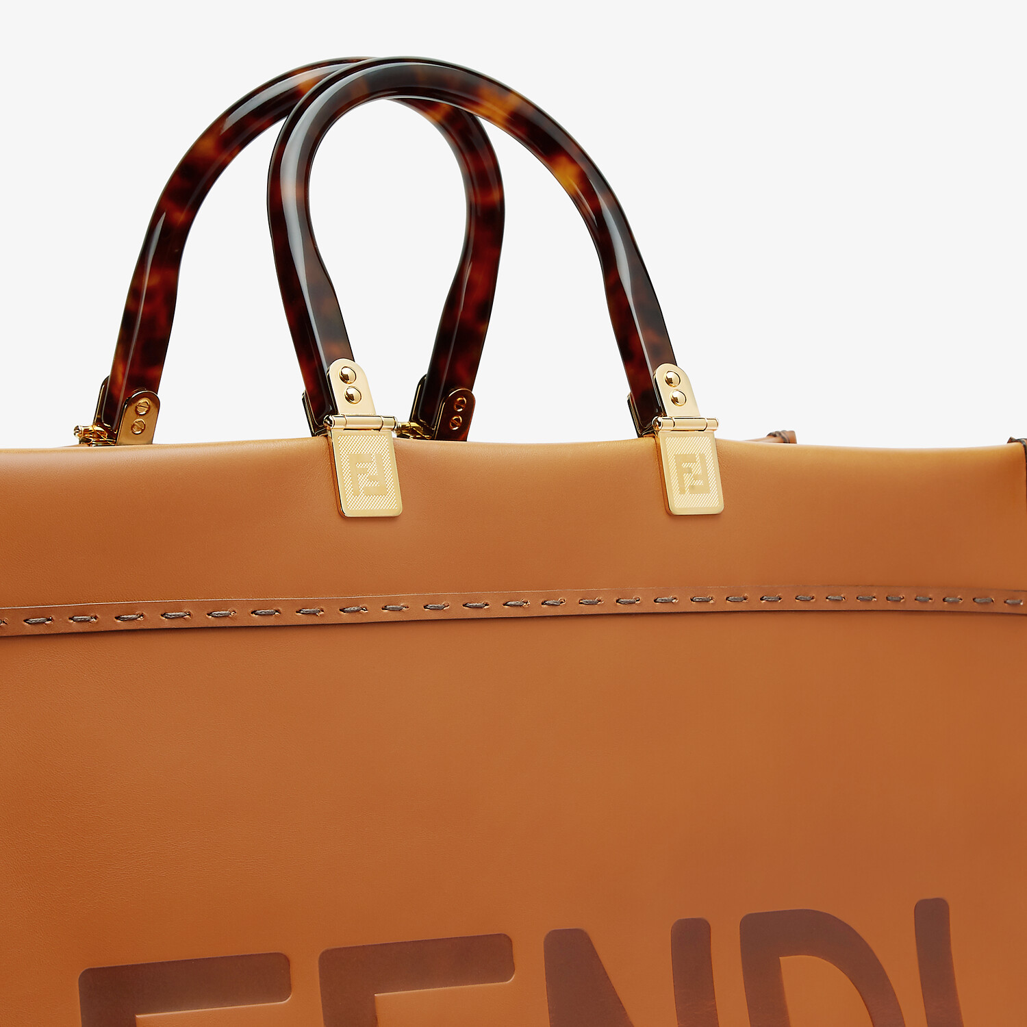 FENDI SUNSHINE SHOPPER - Brown leather shopper - view 6 detail