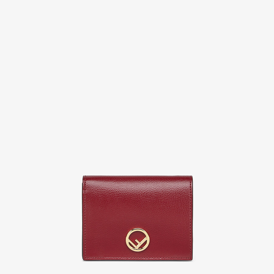 FENDI BIFOLD - Burgundy leather compact wallet - view 1 detail