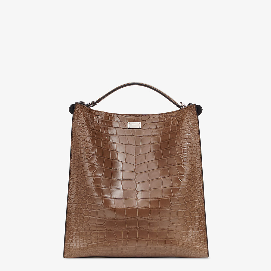 FENDI PEEKABOO X-LITE FIT - Brown alligator bag - view 4 detail