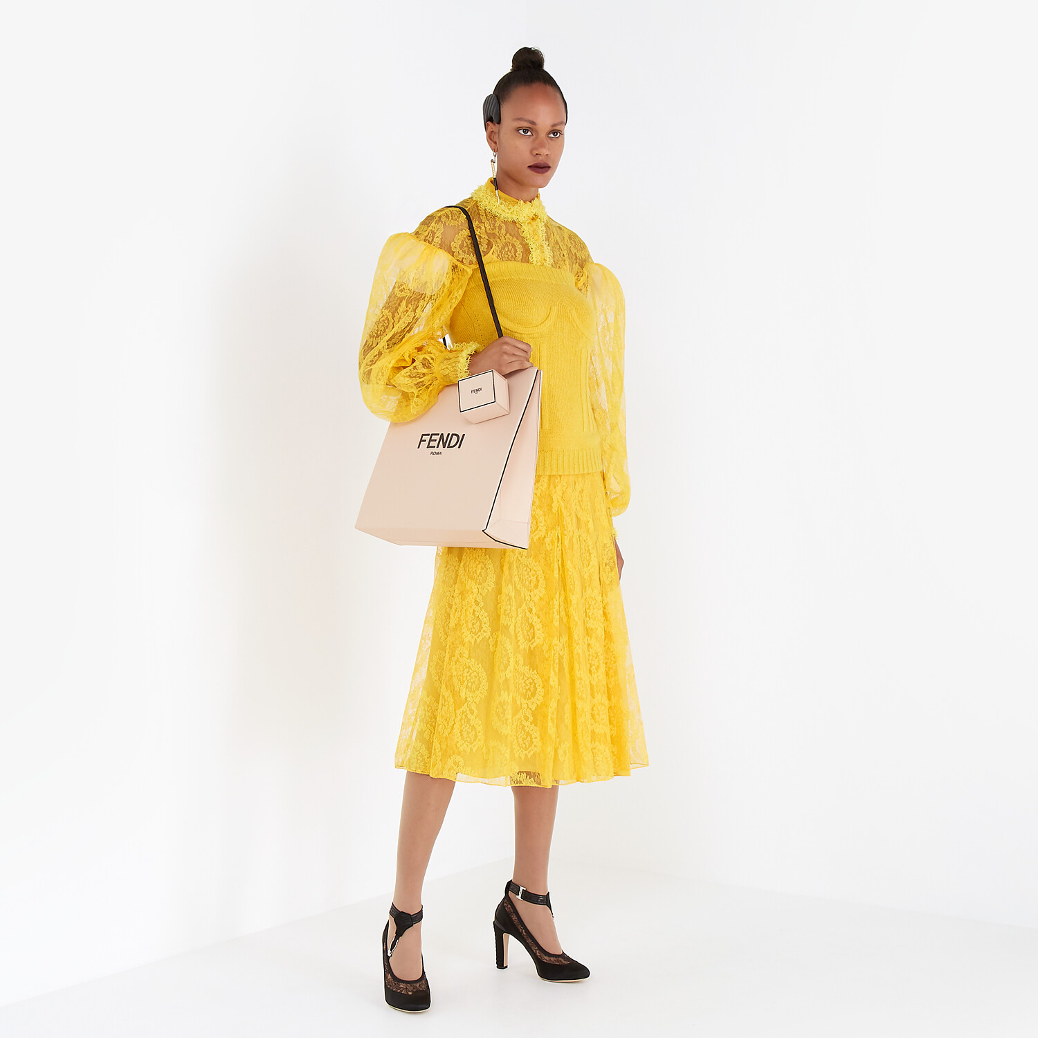 FENDI SKIRT - Yellow lace skirt - view 4 detail