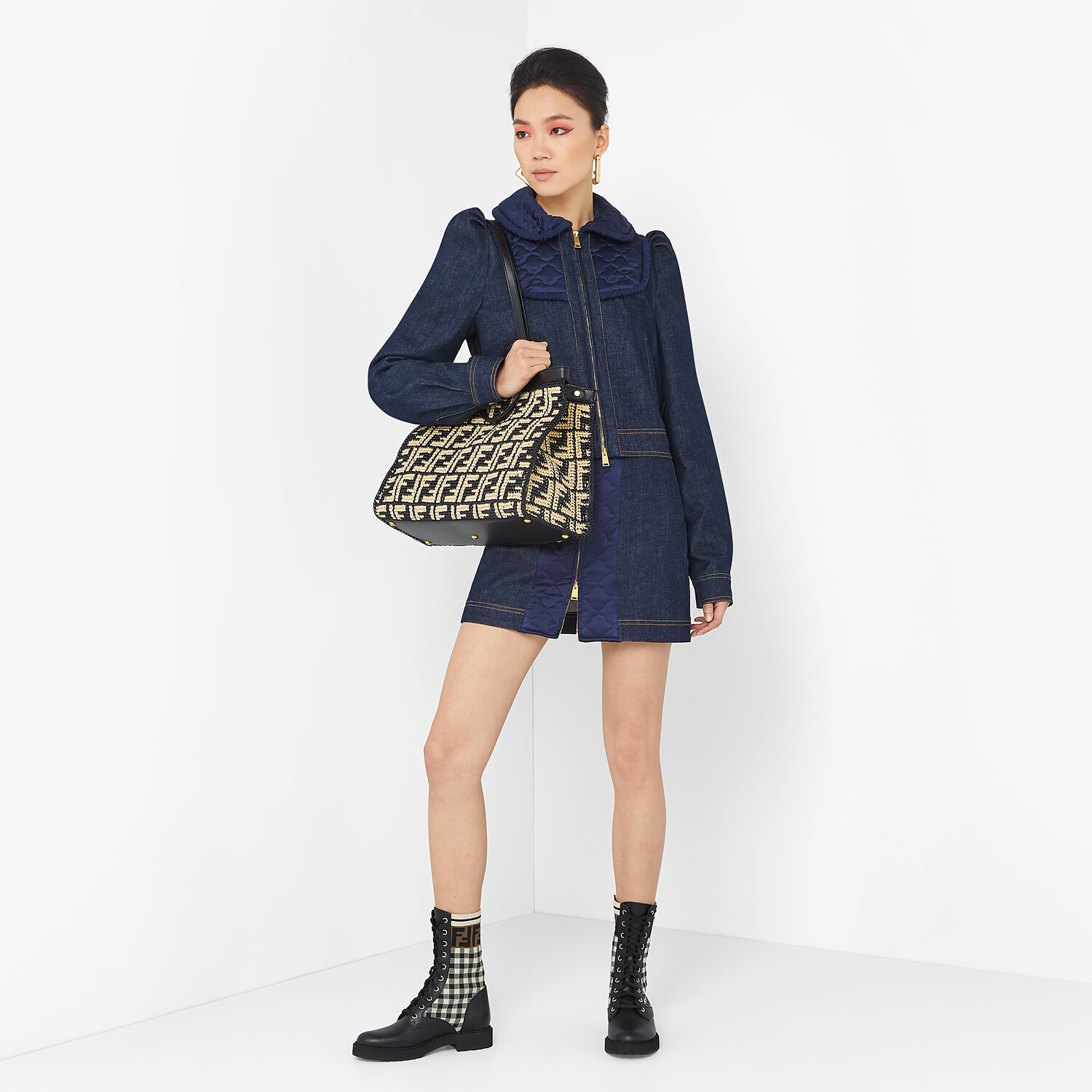 FENDI PEEKABOO X-TOTE - Black FF raffia bag - view 2 detail