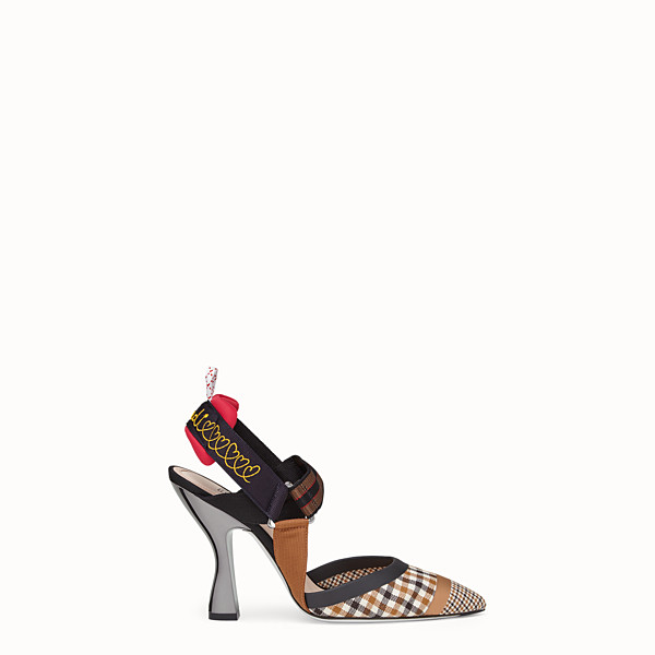 FENDI DÉCOLLETÉ - Slingback in lana multicolor - vista 1 thumbnail piccola