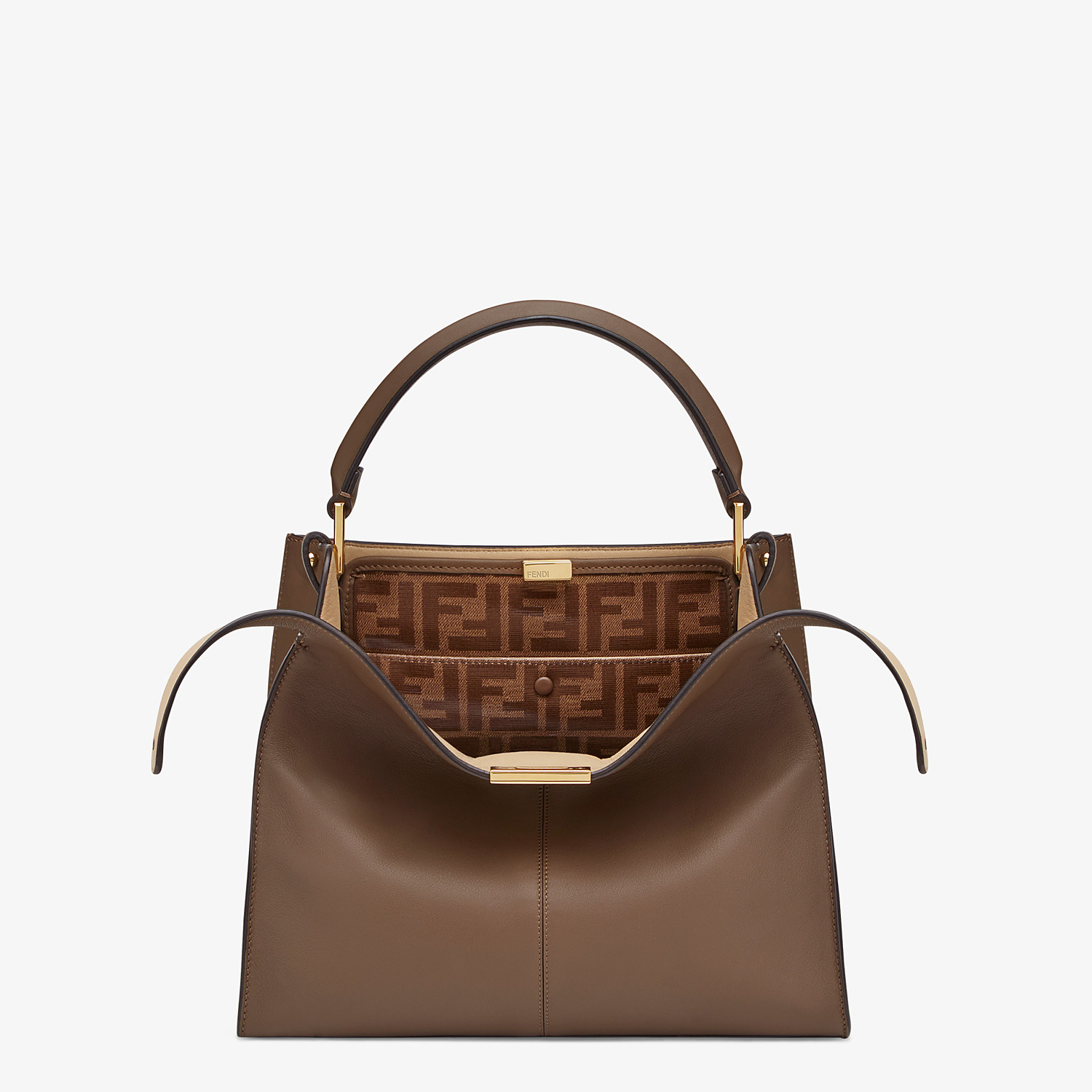 FENDI MEDIUM PEEKABOO X-LITE - Brown leather bag - view 1 detail