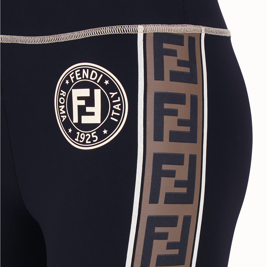 FENDI LEGGINGS - Black tech fabric trousers - view 3 detail