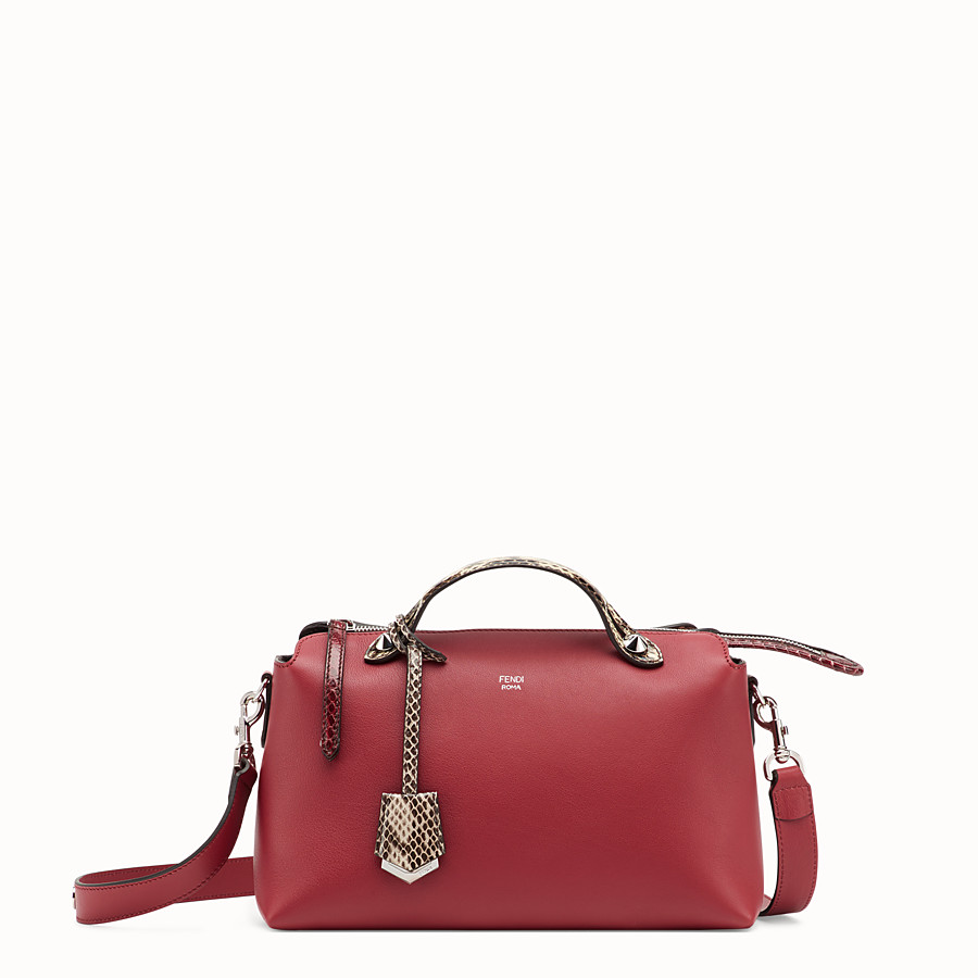 FENDI BY THE WAY REGULAR - Red leather Boston bag with exotic details - view 1 detail