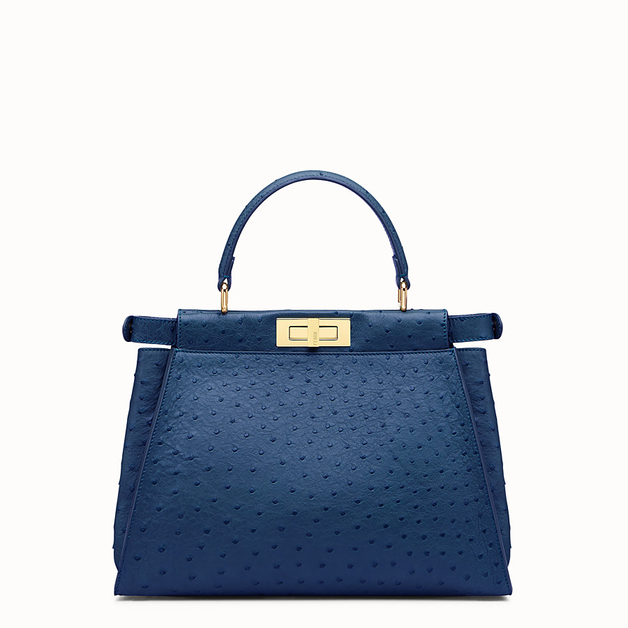 FENDI PEEKABOO REGULAR - Blue ostrich leather handbag. - view 3 detail
