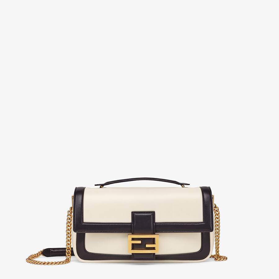 FENDI BAGUETTE CHAIN - Black and white nappa leather bag - view 1 detail