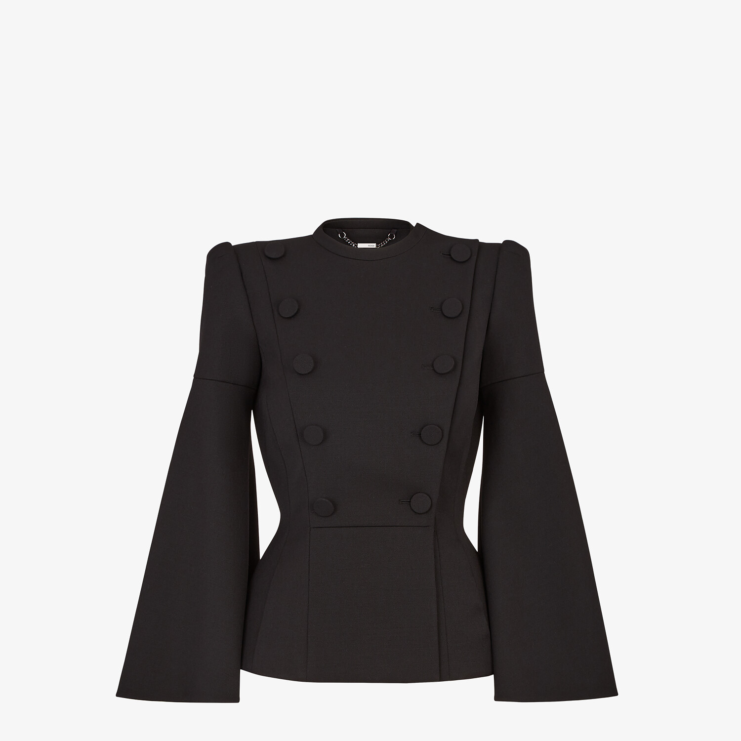 FENDI JACKET - Black silk and wool jacket - view 1 detail