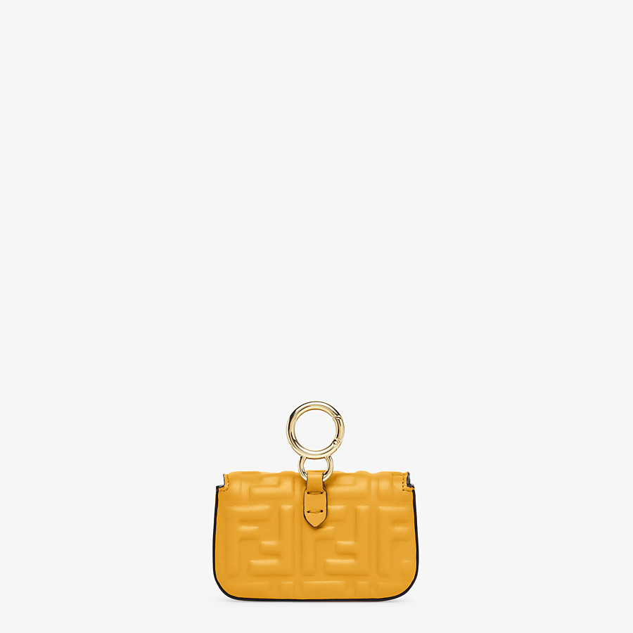 FENDI NANO BAGUETTE CHARM - Yellow nappa leather charm - view 3 detail