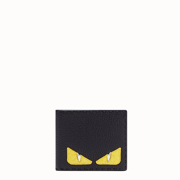 FENDI BI-FOLD WALLET - Black Roman leather bi-fold wallet with exotic leather details - view 1 small thumbnail