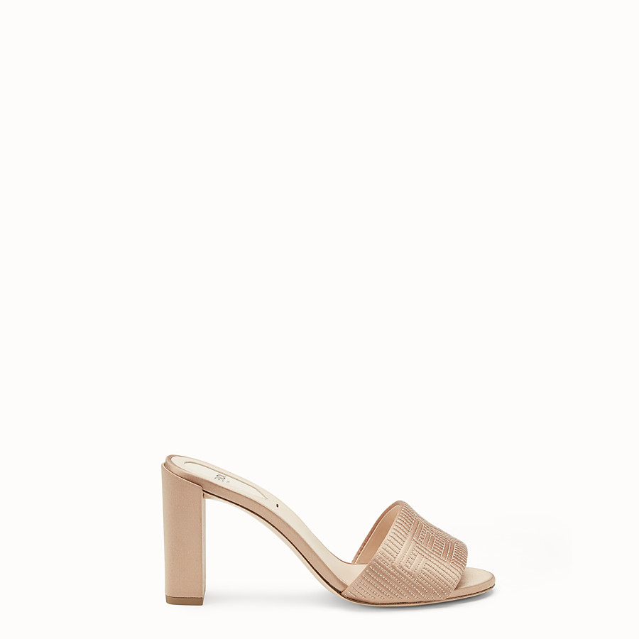 FENDI SABOTS - Beige satin high-heeled sandals - view 1 detail