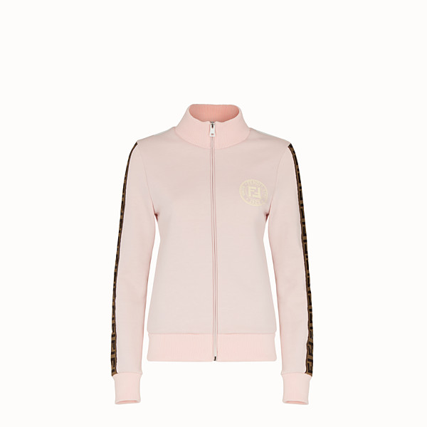 FENDI SWEATSHIRT WITH ZIP - Pink cotton jersey sweatshirt - view 1 small thumbnail