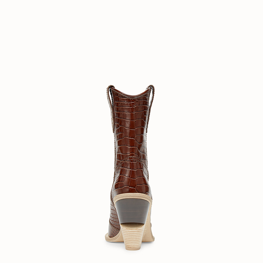 FENDI BOOTS - Brown leather ankle boots - view 3 detail