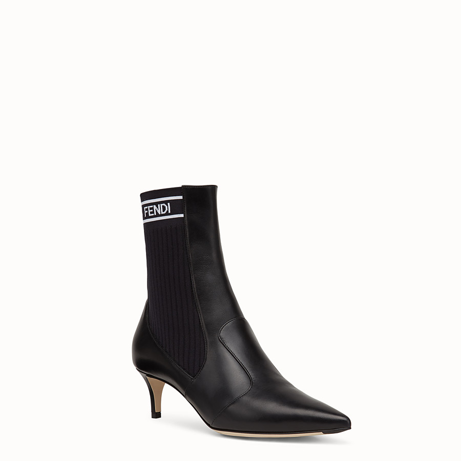 FENDI ANKLE BOOTS - Black leather ankle boots - view 2 detail