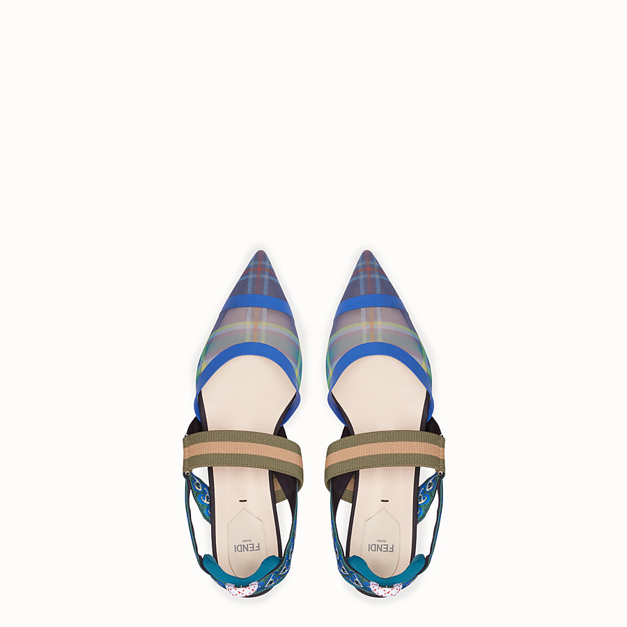 FENDI SLINGBACKS - Multicolour technical mesh sabots - view 4 detail