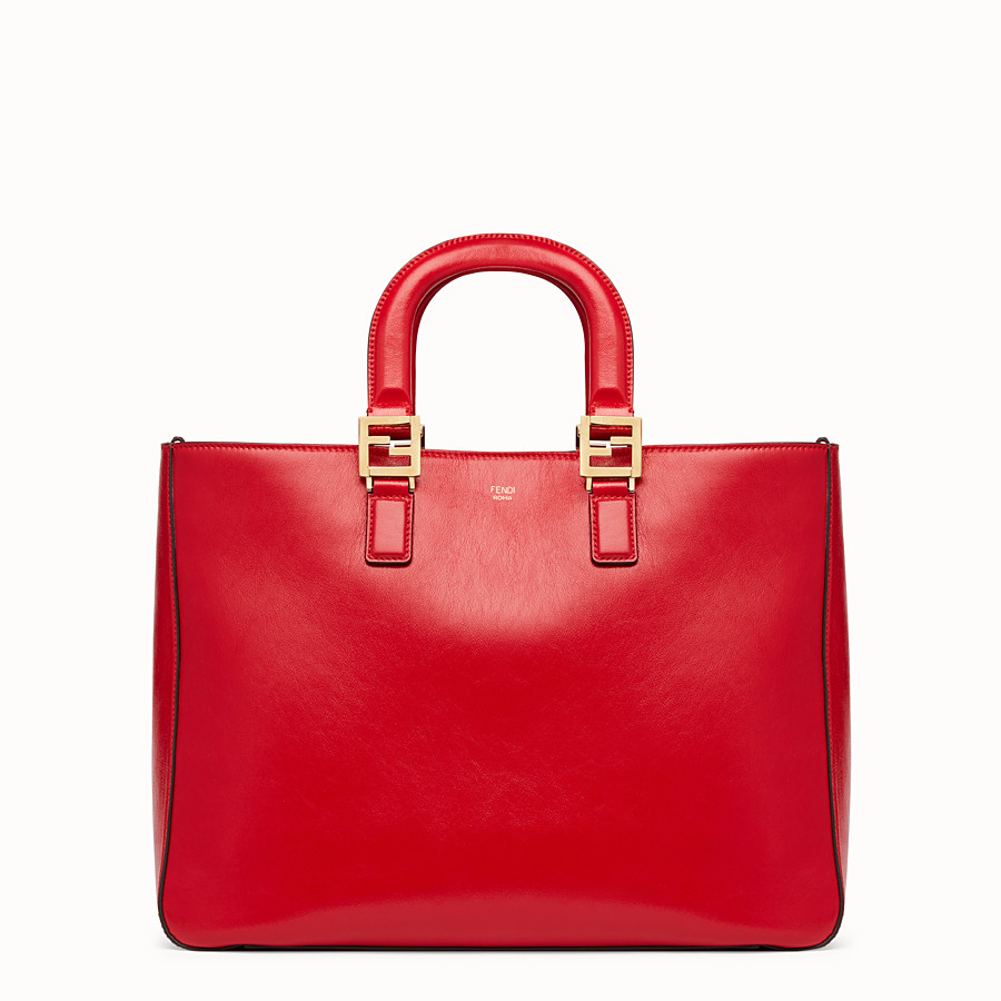 FENDI FF TOTE MEDIUM - Red leather bag - view 1 detail