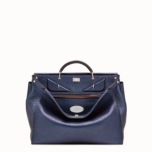 FENDI PEEKABOO ICONIC MEDIUM - Blue leather bag - view 1 small thumbnail