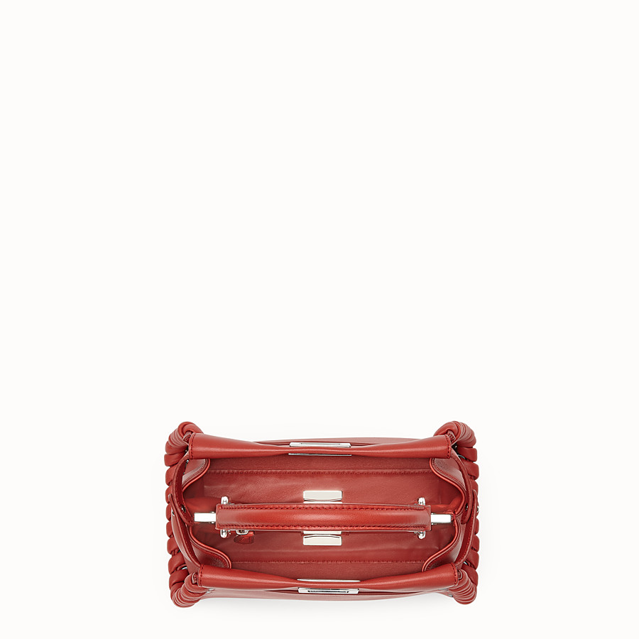 FENDI 迷你款式 PEEKABOO - 紅色軟皮手提包,裝飾編織皮條。 - view 4 detail