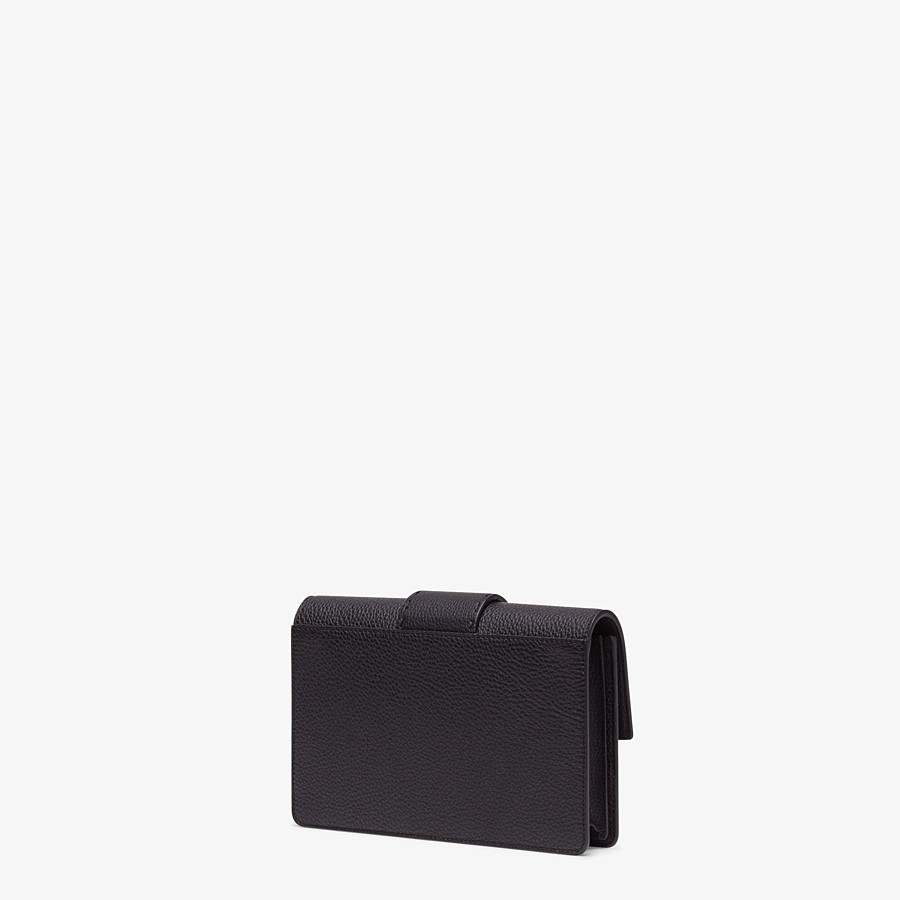 FENDI STANDING CLUTCH - Black calf leather pochette - view 2 detail