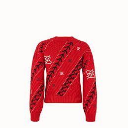 FENDI PULLOVER - Red cashmere jumper - view 2 thumbnail