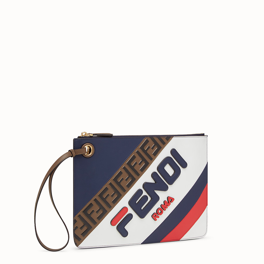 FENDI MEDIUM TRIPLETTE CLUTCH - Multicolour leather clutch - view 2 detail