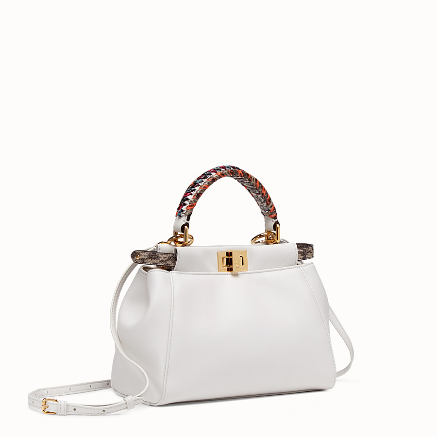 FENDI PEEKABOO MINI - White leather bag with exotic details - view 2 detail