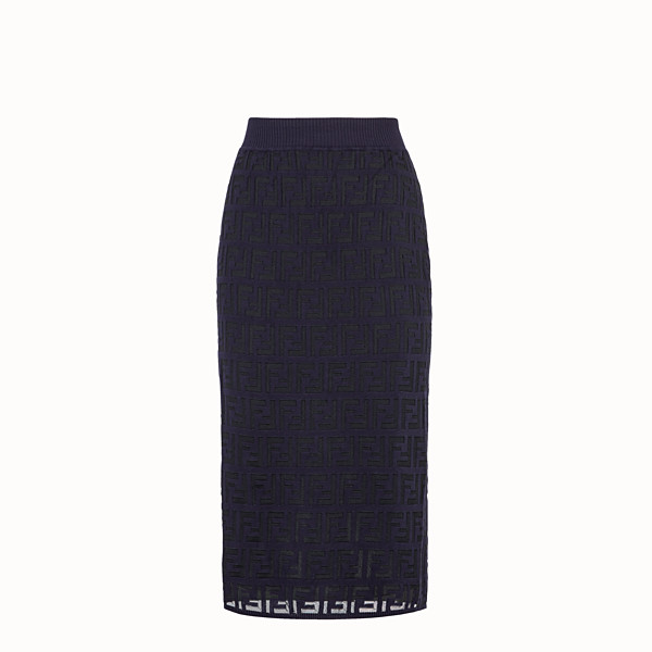 FENDI SKIRT - Blue cotton skirt - view 1 small thumbnail