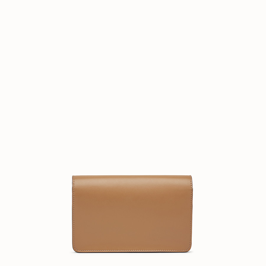 FENDI WALLET ON CHAIN - Studded wallet in sand-colour leather - view 3 detail