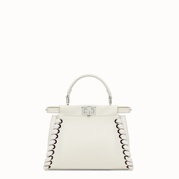 FENDI PEEKABOO MINI - White nappa handbag with weaving - view 1 small thumbnail