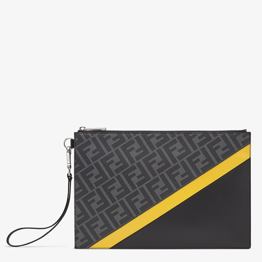 FENDI FLAT POUCH - Grey fabric bag - view 1 detail
